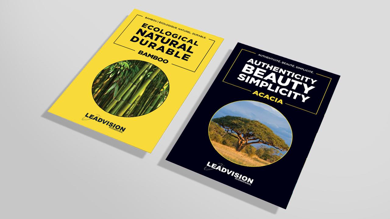 Dépliants des produits d'acacia et de bambou de Leadvision International