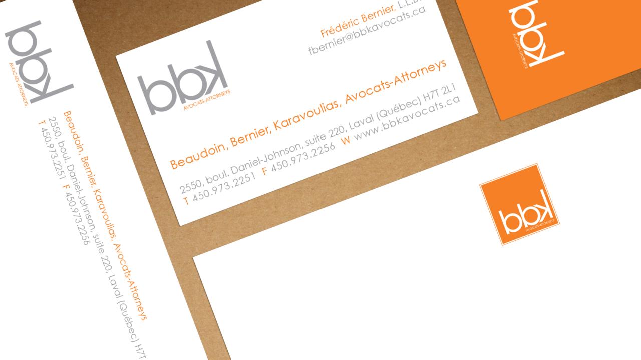 Logo et papeterie BBK Avocats